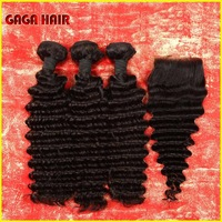 4pcs/lot, cheap Indian virgin human hair, 3pcs hair Bundles with 1 Pcs Lace Top Closure Bleached knots, Deep Wave,Free shipping