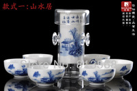 Chinese tea sets 160ml kettle with 6 cups, special for black tea, painted porcelain and glass tea set