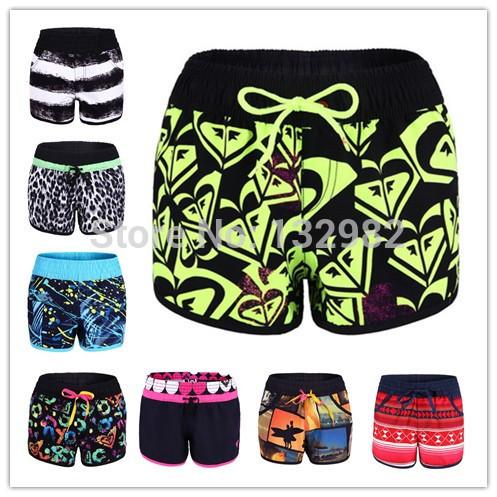 nuovo 2014 marchio di moda delle donne spiaggia costumi da bagno costumi da bagno sportivi surf pantaloncini da surf donne taglia l nero rosso verde blu bianco