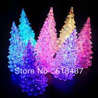Acrylic crystal christmas tree light colorful small night light Christmas small gift LED night light free shipping