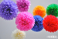 Free shipping 10Pcs 10cm(4inch) Tissue Paper Pom Poms Flower Balls Wedding Birthday Party woodland Festival  / Decoration