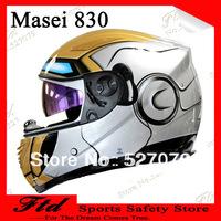 Masei 830 Iron Man DOT ECE Skull Motorcycle Electric Bike Helmet Silver M L XL Full Face Capacete