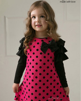 Free shipping wholesale 5pcs/lot autumn girls long-sleeved dress girls dot bow hot pink black polka dot dress