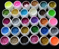 FREE SHIPPING Glitter 30Colors  nail UV Gel set  kit