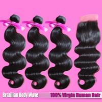 EVAS 1PCS Knots Bleached Lace Closure with 3 PCS Brazilian Body Wave Hair Bundles Free shipping