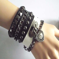CPAM Punk men leather bracelets,leather bangle wristle for women 2013