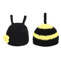 4Sets/lot New Baby Hats Set/Costume Photo Knit Beanie Caps/Newborn Photography Props Animal Bee Crochet Hat Suit Black 18008