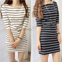 2013 Hot Sale Preppy Style Casual Stripe Color Block Half Sleeve Slim Hip One-piece Dress Women's Dress 17771