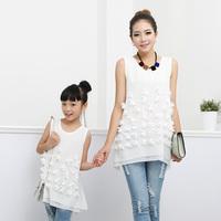 2014 summer children costume brand Hand-cut flowers chiffon dresses baby kids clothes vestido princesa Family ,for mom / girls