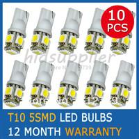 Cheap Shipping White T10 LED 5SMD 5050 Inverted Side Wedges Light Bulbs Car light lamp