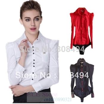 Новый 2014 Женская мода длинный рукав ол твердые формальные блузки тела рубашки для ...