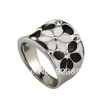 Free Shipping Enamel jewelry 18K White Gold Plated White and Black Or Pink Flower Rings For Women