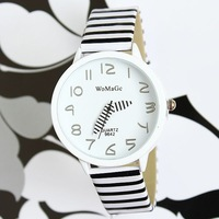 2013 NEW Fashion Women Zebra Strap band Quartz Watch Lady dress watch Pencil Pointer casual analog watch
