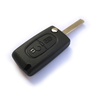 Wholesale Good quality Peugeot 207 307 308 407 408 607 2 Buttons Remote Key case shell Fob without groove with Battery Holder