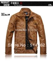 2013 new fashion brand motorcycle genuine leather clothing ,men's leather jacket, Free Shipping 8805