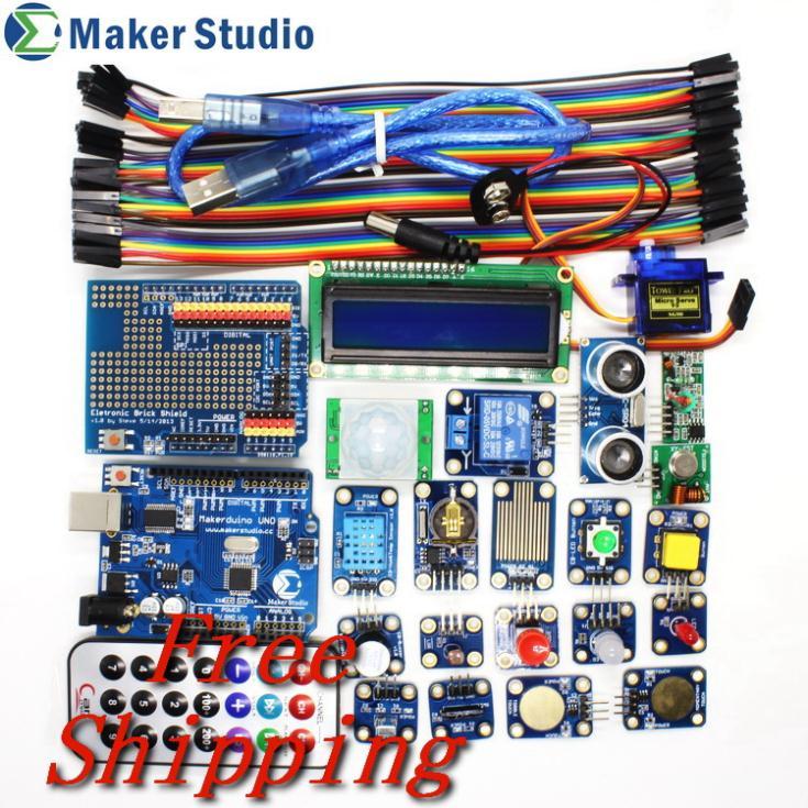 Advanced Electronic Module for Arduino Starter Kit with Button/LED/Sensor/RF/Servo/LCD/Makerduino Better Than Arduino UNO R3(China (Mainland))