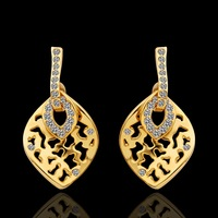18KGP E125 Free shipping,Wholesale 2pairs 12% OFF. Vintage Charming Leaf Dangle Earrings,2014 New Designer Luxury Brincos Bijoux