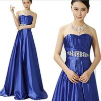 Hot Selling Elegant Luxury  Off The Shoulder Crystal Royal Blue Floor Length Evening Party Dress 11CLF63