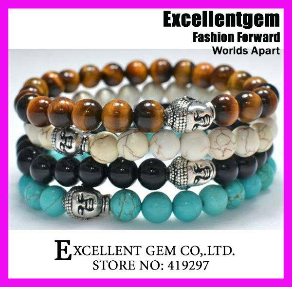 Men's Beaded Buddha Bracelet, Turquoise Howlite Onyx Tiger Eye stone bracelet,Buddha Head Yoga Mala Bracelet(China (Mainland))