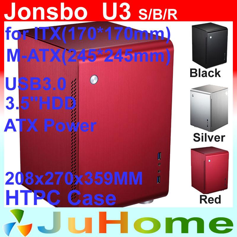 HTPC MATX Mini case, aluminum computer case, USB3.0 *2, free 120mm fan, Home theater computer Jonsbo U3, V4 V2 V3+ U1(China (Mainland))
