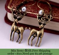 ZH0553  New Arrival trendy vintage antique pearl  deer reindeer drop earring ear rings for women Christmas present
