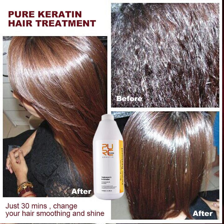 Keratin treatment and keratin purifying shampoo and argan oil shampoo