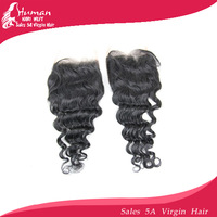 "Free shipping top lace closure virgin hair,deep wave closure with virgin hair swiss lace 4""*3.5"" brazilian bleached knots"