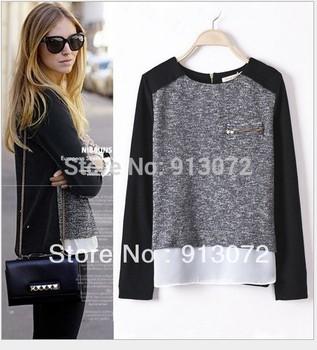 SW180 Новая мода Женская элегантный сращены лоскутное трикотажных пуловеров стильные ...
