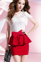 With a Bow Belt ! 2014 New Fashion Women Dresses Summer Cute Casual Dress Bandage Mini Sexy Dress Stitching Lace Women Clothing