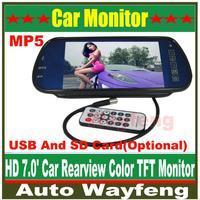 "Free Shippinrg Car HD Monitor 7"" Color TFT LCD Car Rearview Mirror Monitor SD USB MP5 FM Transmitter Car Camera Mirror DVR"