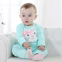 baby 2piece suit set tracksuits Girl's cat clothing sets infantis velvet Sport suits jackets +pants freeshipping