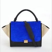 2015 Designer Inspire Trapeze Block Big Ears Smiley Swing Bag Mochila Tricolor Handbag Women Messenger Bags Bolsas Femininas