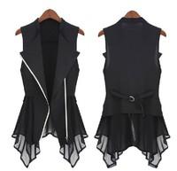 Free shipping 2014 new chiffon vest spring Autumn models Women Slim Long jacket  Europe sleeveless waistcoat waistcoat S.M.L,XL