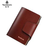 Manbang Cowskin leather wallets men Fashion designer High quality brown money purse free shipping MB614-1N