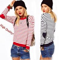 Winter 2014 Striped Hearts Pullovers Knitted Sweaters Women Tricotado Long Sleeve Knitwear Red Blue White Casual Coat Sportswear