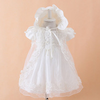 FreeShippingNew Fashion Girl Dress Baby Girls Christening Party Dress+Headband Princess Infant Wedding Dress Flower Girl Dresses
