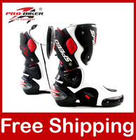 Motorcycle Boots Pro biker SPEED Bikers Moto Racing Boots Protective Gear Motocross Leather Long Shoes B1001 Black/White/Red