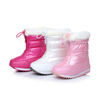 Size 23-28 Winter New Fur Children Snow Boots Girls Boots Waterpoof Girl High Rubber Leather Sport Good Quality Boot L101