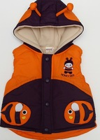 2013 New kids outerwear baby boys warm hooded cotton-padded coat jacket fish kids outwear vest thick childern clothing