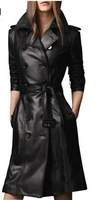 2014 Spring Autumn Original Brand Slim Black Medium-Long Double-breasted Leather Trench Coat Free Shipping Plus Size S-3XL