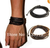 Fashion Jewelry Wrap Multilayer Genuine Leather Bracelet with Braided rope Unisex  Min.order is $5 (mix order)free shipping