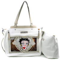 Betty Boop Bags Women Leather Handbags Totes Bag with Chain Decor Rhinestones Women Handbags with Studded & Clear Glossy Accent