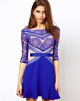 New 2014  Autumn Fashion Star Left Bank Eyelash Lace Ruffle Dress One-piece Dress Free shipping LQ327