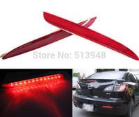 Red Lens LED Bumper Reflectors bulbs For 2010 up 2nd Gen Mazda3 Taillight Brake Lights