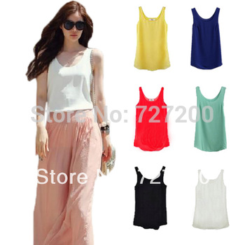 2013 Fashion Women Chiffon Sleeveless Shirt Vest Vest Tank Tops Blouse Waistcoat  #46253