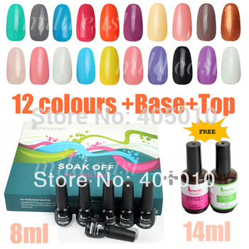 Free Shipping 12 colors soak off UV gel polish kit set soak off gel polish professional nail art manicure set