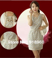2013 New Sweet lace women's Dress/Cozy cute Ladies' Skirt/elegant good quality fine-grain dress high quality goods Free shipping