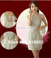 New Sale summer wedding dress women's Cocktail Dresses/embroidery elegant graceful vogue tinge dress/with belt & necklace/WTY