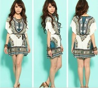 2013 new Indian style Novelty Silk Sophisticated Geometric Folk Hippie Loose Casual Mini Women vestidos Dress Batwing sleeve