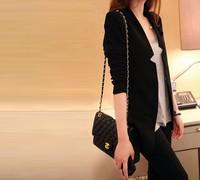 2014 autumn Tops Fashion Women's dress medium-long  black Blazer Colored,casual slim long sleeve plus size XXXL suit jacket 8118